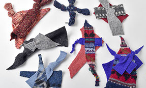 Pet toys made from scraps of wool sweaters